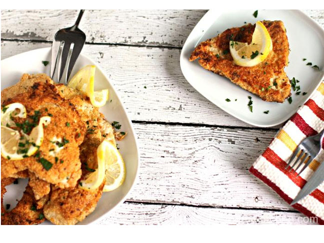 matzo breaded chicken breasts with lemon