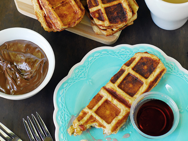 cinnamon waffle sticks with bacon