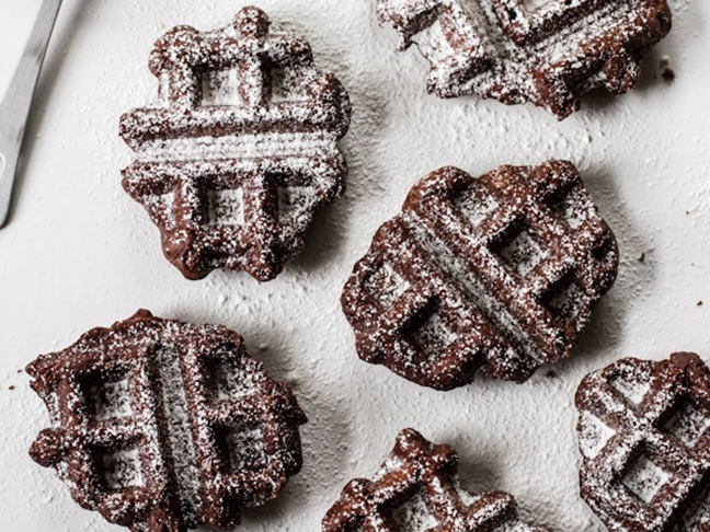 brownie waffles with powdered sugar