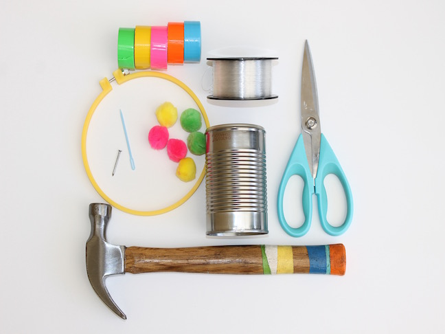 duct tape tin can hammer scissors