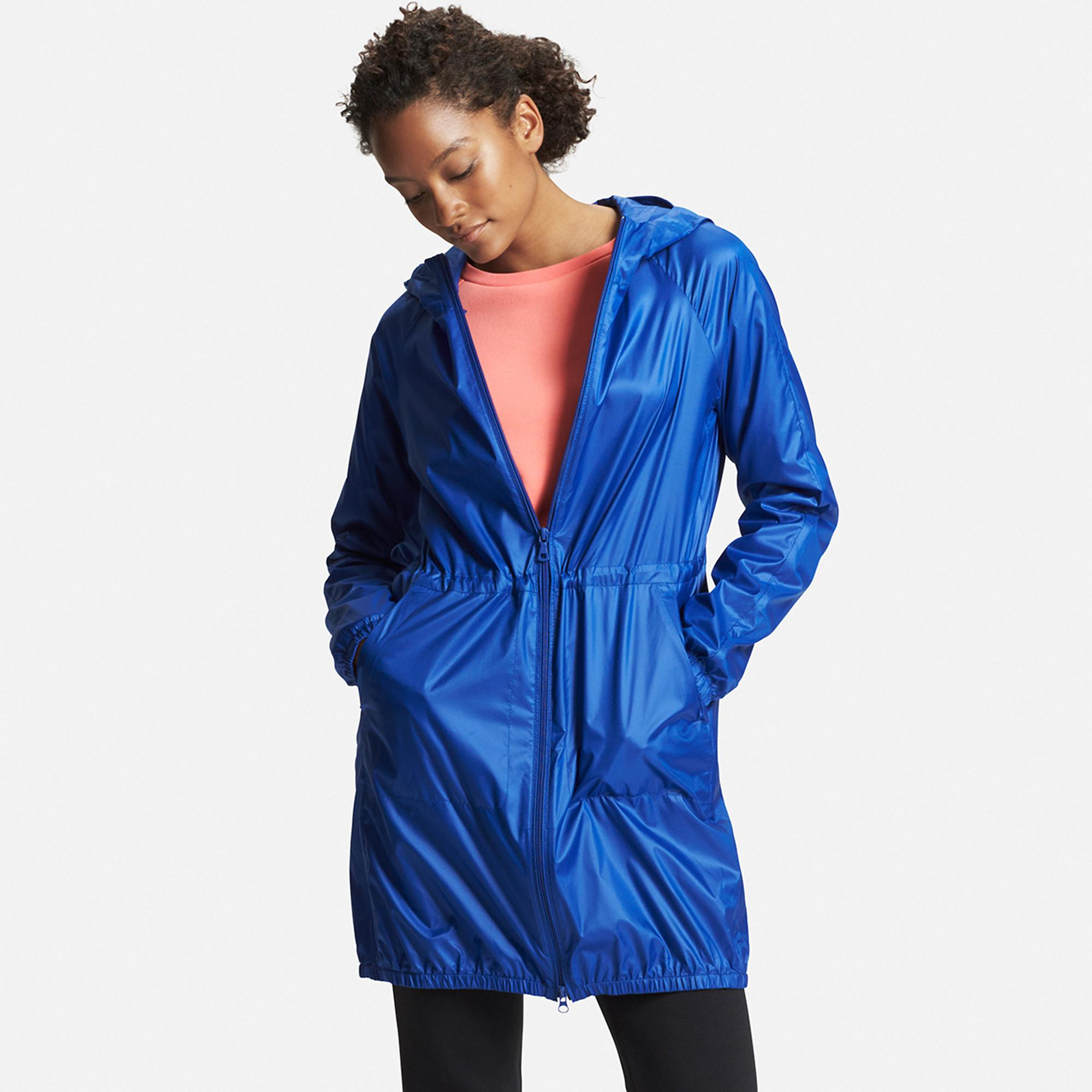 uniqlo blue raincoat with pockets