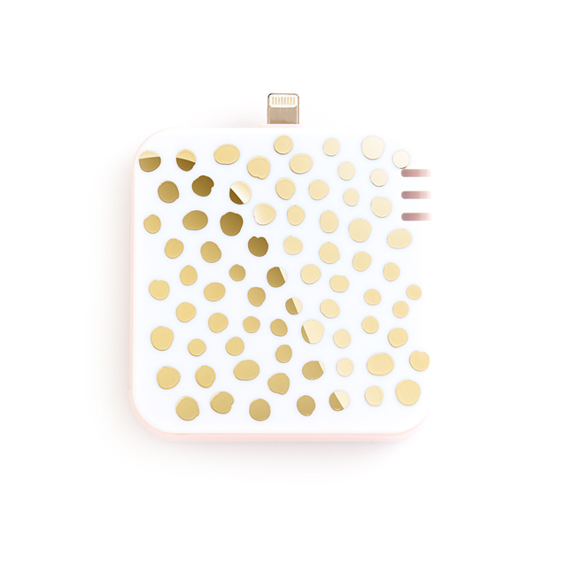white and gold metallic dot back up battery for iPhone