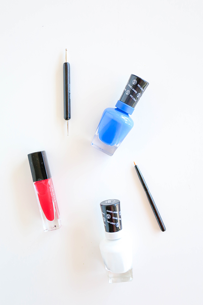 supplies for a red, white, and blue manicure