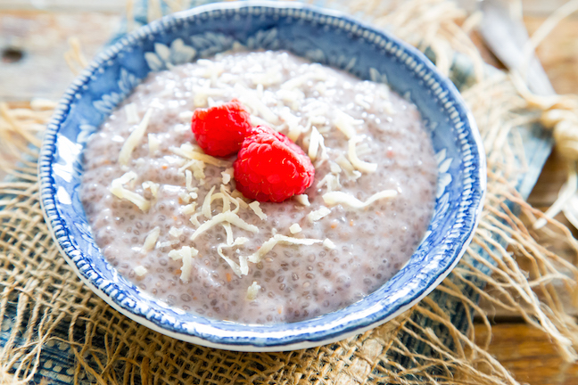 raspberry chia pudding with shredded coconut