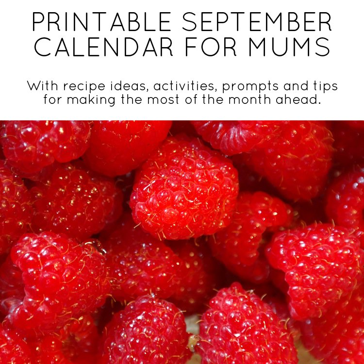 September printable calendar for mums - by Mumtastic