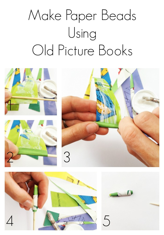 how to make paper beads out of old picture books. Black Bedroom Furniture Sets. Home Design Ideas