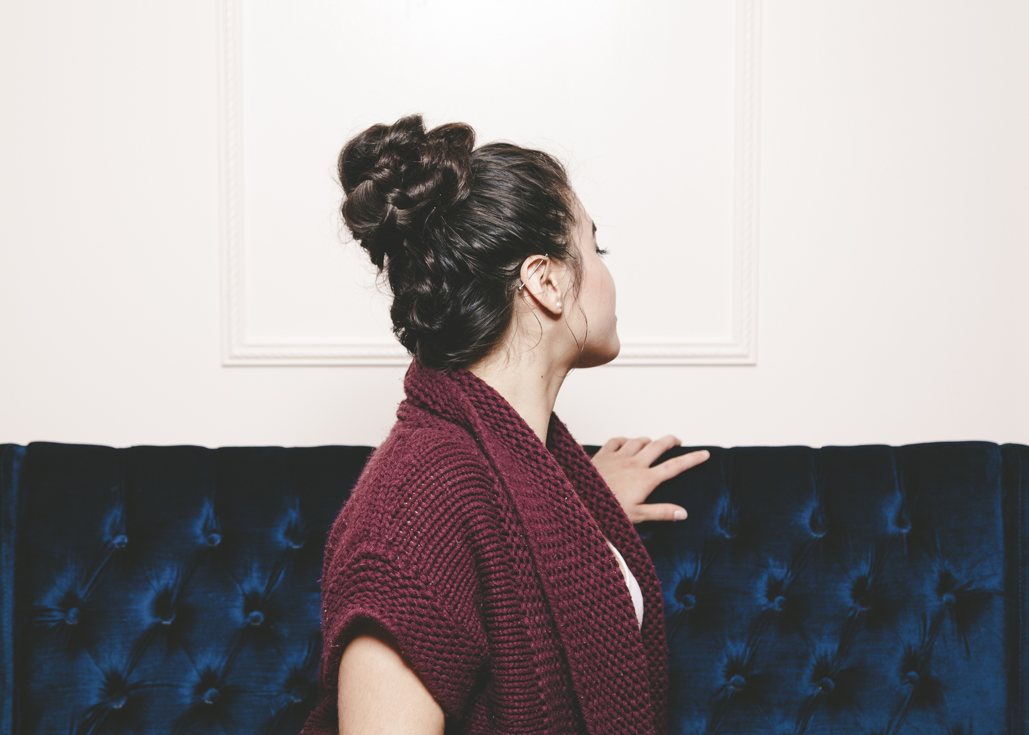 braided top knot fall hairstyle