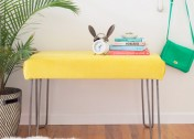 This DIY Hairpin Leg Velvet Bench Is Perfect for Your Entryway