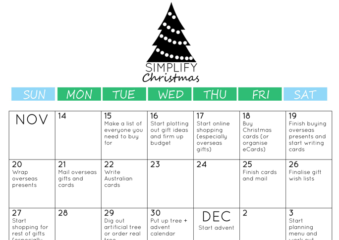 Christmas Countdown Calendar - To Do