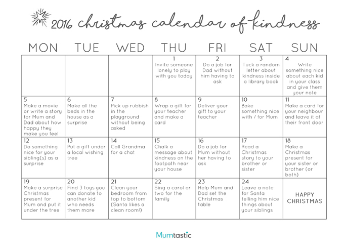Christmas Kindness Calendar 2016 - Free Printable