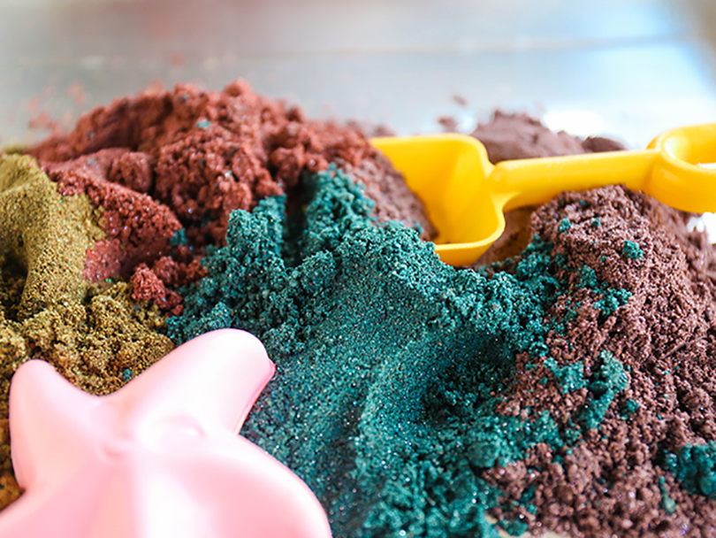 need a new sensory play activity try this diy kinetic sand. Black Bedroom Furniture Sets. Home Design Ideas