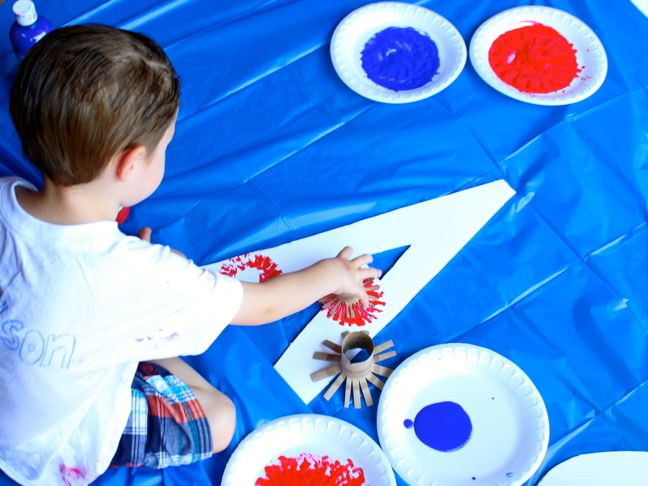 boy-painting-red-blue-july-4th-art-project