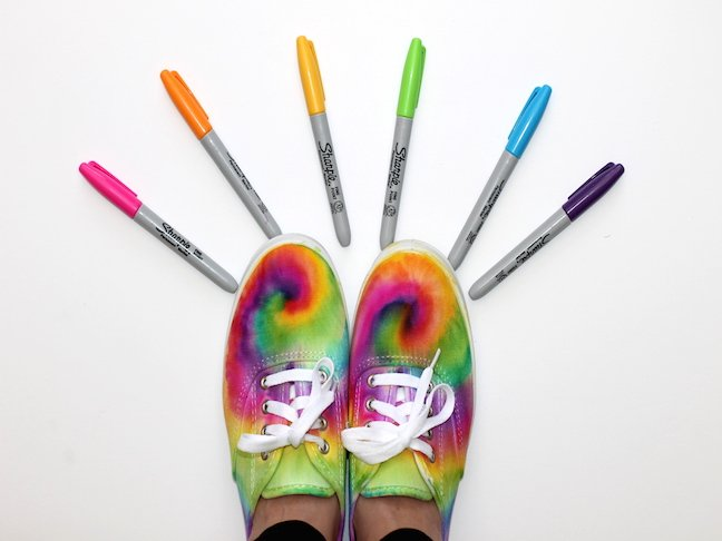 final 2 Tie Dye Sharpie Sneaker Project