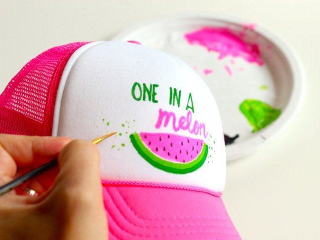 one-in-a-melon-diy-hat-for-kids-watermelon-art-on-a-trucker-hat