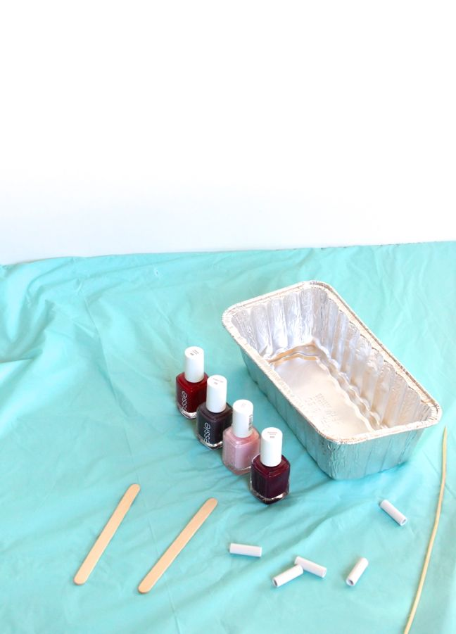 teal backdrop nail polish aluminum tray