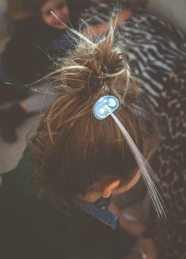 fiber-optic-hair-piece-with-bright-blue-lights