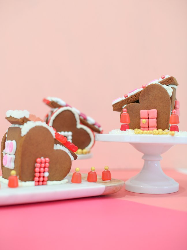 Three Valentine gingerbread houses