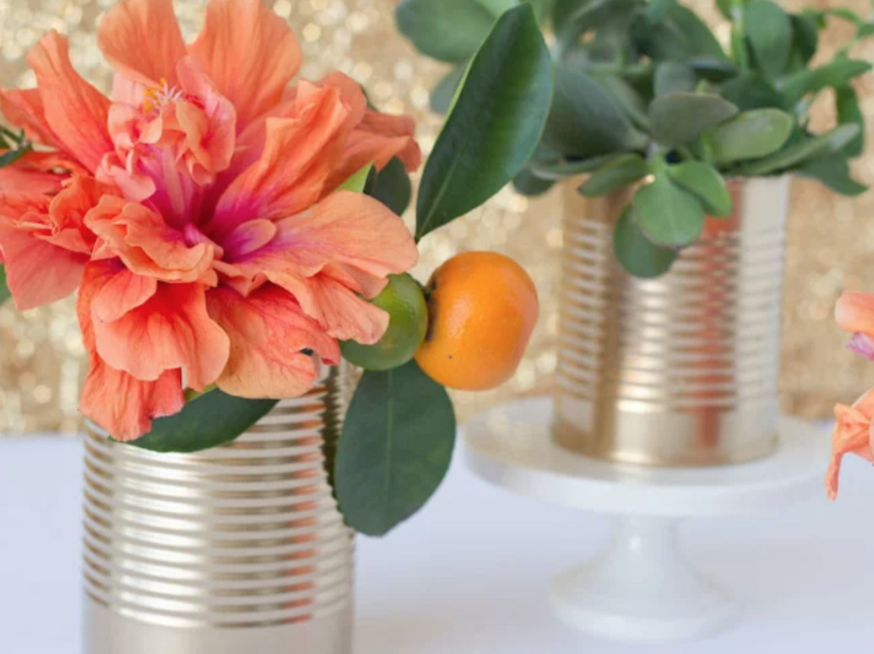 Painted Tin Can Vases