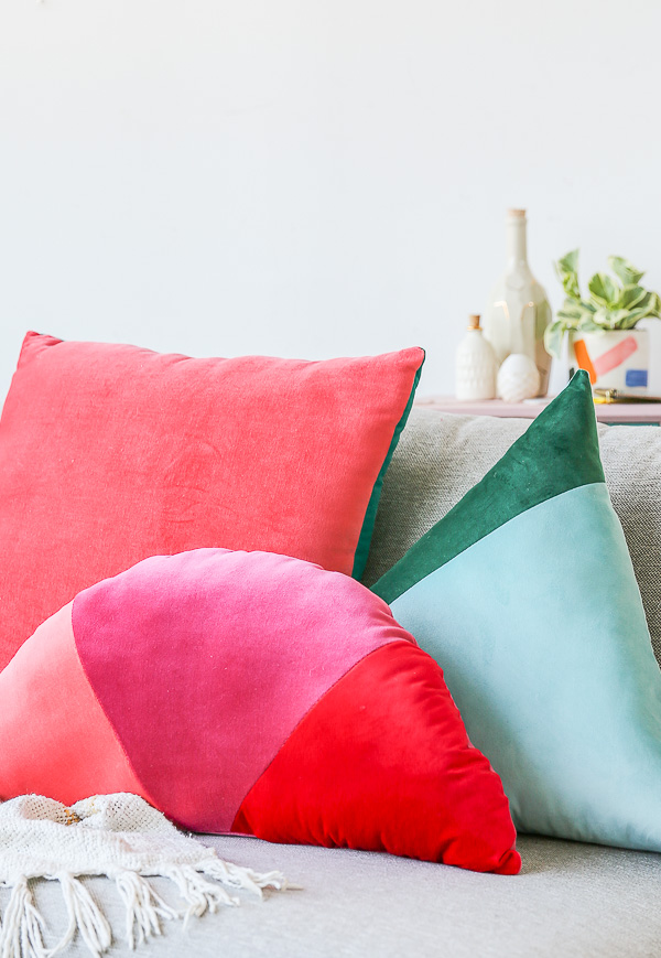 DIY Velvet Color Block Pillow
