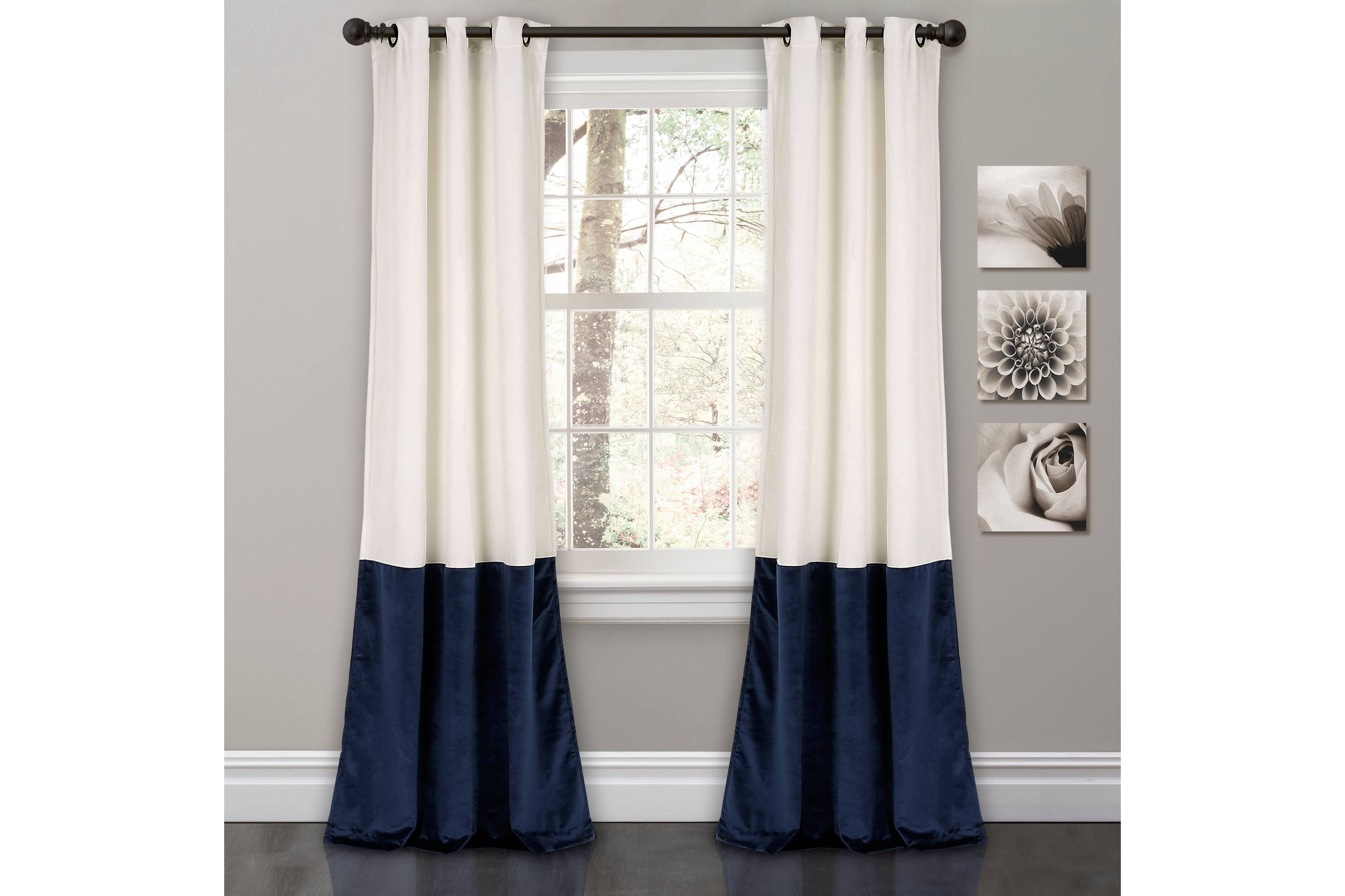 Velvet Color Block Curtains