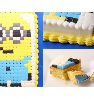 Pixelated Minion Cake