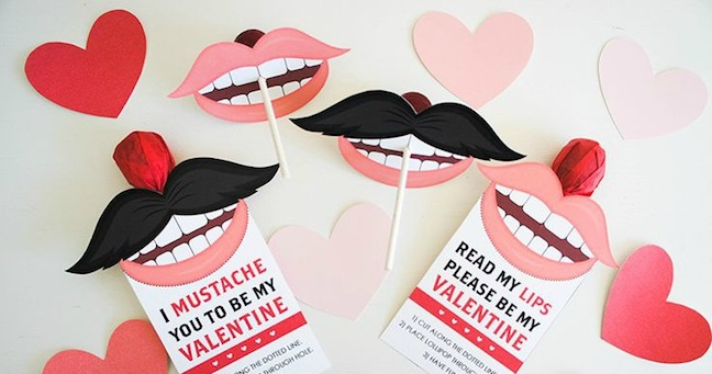 Mustache and Lip Sucker Valentines