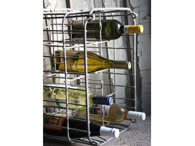 Antique Metal Milk Crate Wine Rack