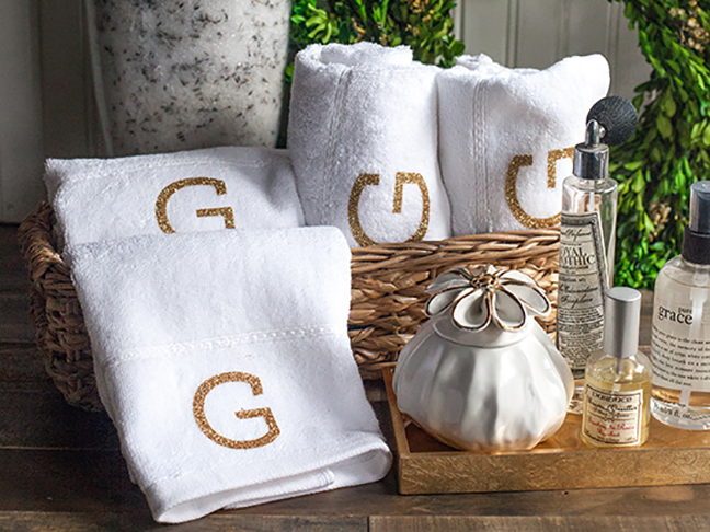 Simple & Elegant Monogrammed Hand Towels