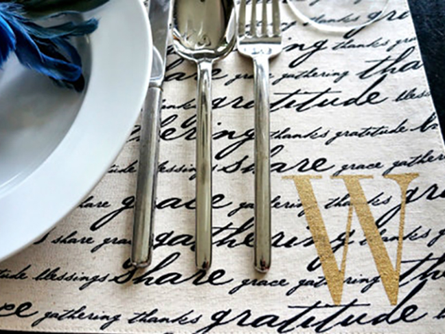 Stenciled Monogrammed Placemat