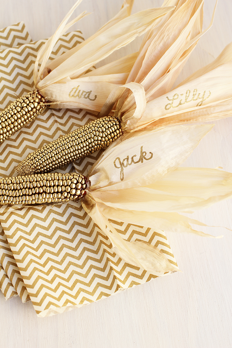 Gold Corn Place Card