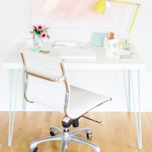 Desk with Colorful Hairpin Legs from Style Me Pretty Living