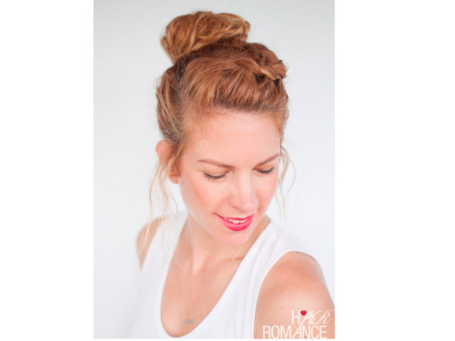 Curly Braided Top Knot