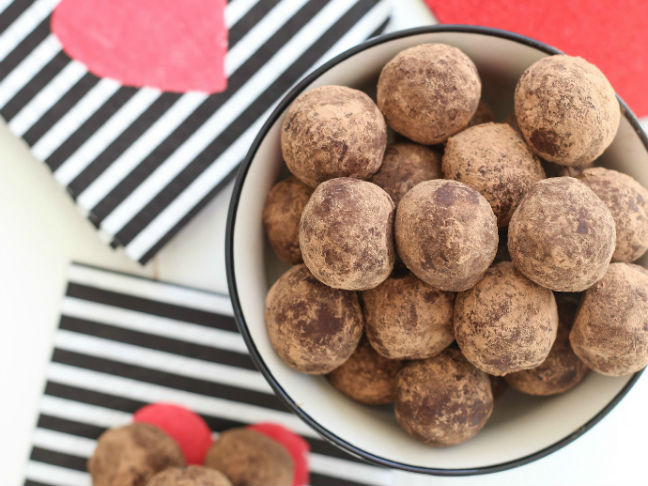 Healthy Peanut Butter and Jelly Chocolate Truffles