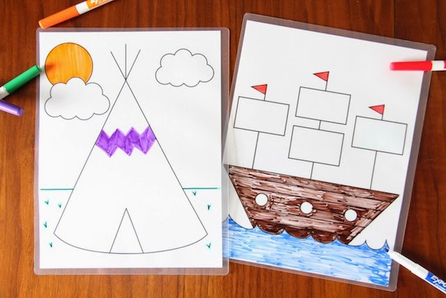 Dry Erase Coloring Sheets