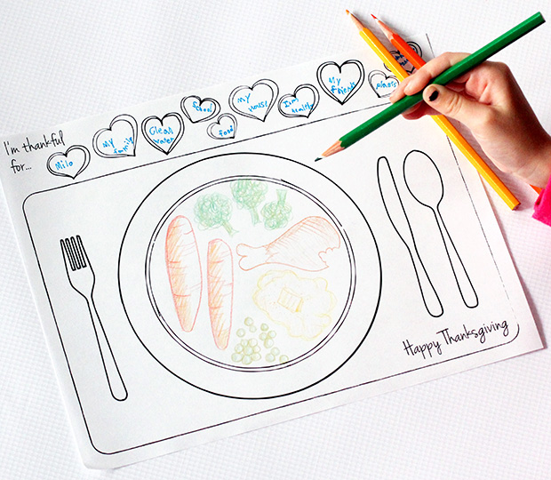 Thankful Coloring Placemat