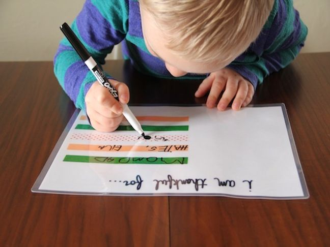 DIY Dry Erase Thanksgiving Placemat